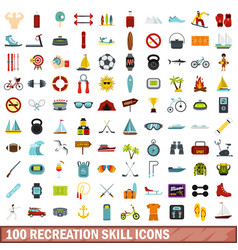 100 recreation skill icons set flat style vector image