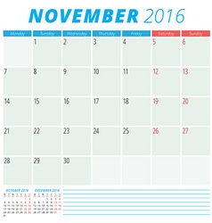 Calendar 2016 flat design template November Week vector image vector image