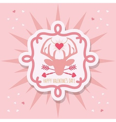 Happy Valentines Day pink hipster dear emblem vector image vector image