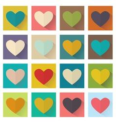 heart flat design set buttons vector image