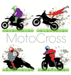 motocross silhouettes set vector image vector image