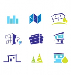 real estate and nature icons vector image