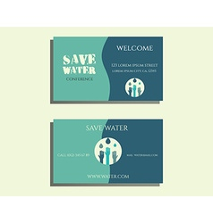 Save water conference visiting card template with vector image