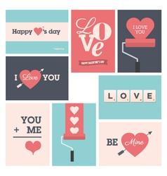 set valentine cards vector image vector image