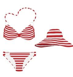 Summer hat and bikini vector image vector image