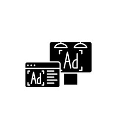 advertising black icon sign on isolated vector image