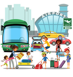 Airport transfer public transport like car and vector