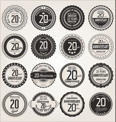 Anniversary retro labels collection 20 years vector