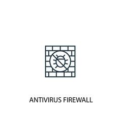 antivirus firewall concept line icon simple vector image