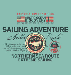 arctic north sea route discovery sailing adventure vector image