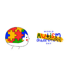 Autism awareness day child puzzle head banner vector