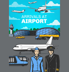 aviation airport airplanes and aircrew poster vector image