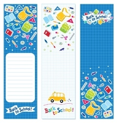 Back to school Vertical banners or bookmarks vector