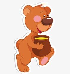 Bear and honey pot vector