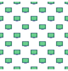 Binary code on monitor pattern cartoon style vector