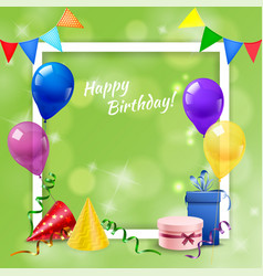 Birthday party frame realistic vector