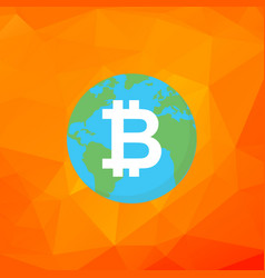 bitcoin sign bitcoin on earth flat vector image