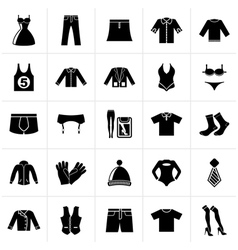 Black Clothing and Fashion collection icons vector image