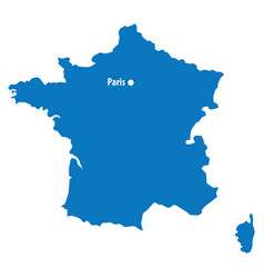 blue similar france map with capital city paris d vector image