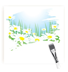 brush painting of camomile meadow vector image
