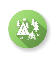 camping green flat design long shadow glyph icon vector image