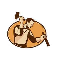 Carpenter sculptor with hammer chisel retro vector
