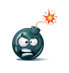 Cartoon bomb fuse wick spark icon anger spite vector