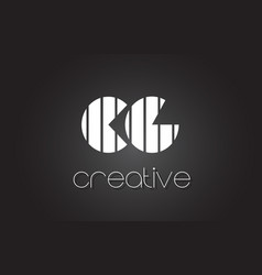Cg c g letter logo design with white and black vector