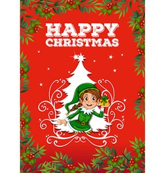 Christmas card with elf vector