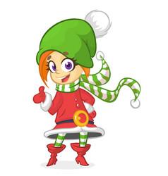 Christmas girlelf cartoon vector