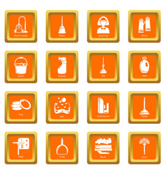 cleaning tools icons set orange square vector image