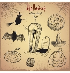 Collection of scary objects for Halloween design vector