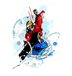 Colored hand sketch snowboarders vector