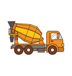 Concrete mixer truck construction machinery vector