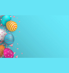 cute easter egg and spring flower background vector image