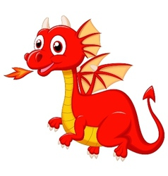 Cute red dragon cartoon vector image