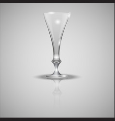 Empty glass cup on mirror vector
