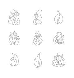 Fire frame icon set vector