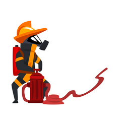 fireman in a protective mask spraying water using vector image