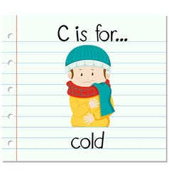 Flashcard letter C is for cold vector
