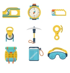 Flat color icons for mountaineering vector image