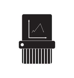 Flat icon in black and white shredder vector image