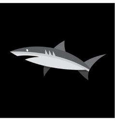 Flat Shark on a dark background of quality logo vector image