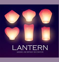Flying sky lanterns set chinese light effect vector