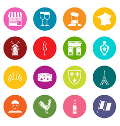 France travel icons many colors set vector