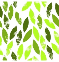 Fresh green leaves grunge seamless pattern vector