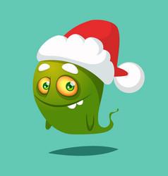 Funny cartoon monster wearing santa claus hat vector