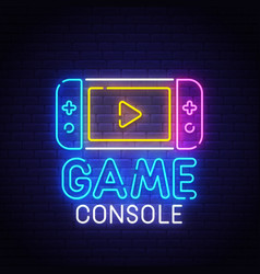 game console neon sign bright signboard vector image