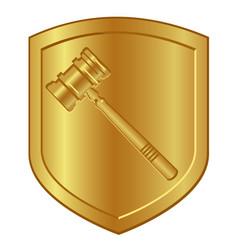 Gold hammer symbol logo in golden shield lawyer vector