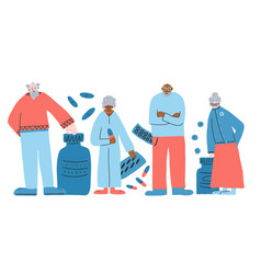 Group old people isolated vector